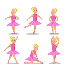 little ballerina in pink dress cartoon characters vector image
