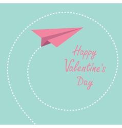 Origami paper plane dash spiral valentines day vector