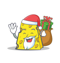 Santa cheese character cartoon style with gift vector