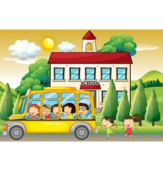 Students riding school bus to school vector image vector image