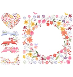 Summer flowers - frameheart and decor vector image vector image