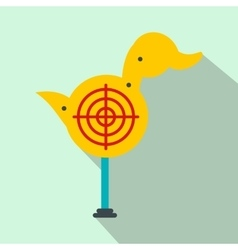 Yellow duck target flat icon vector