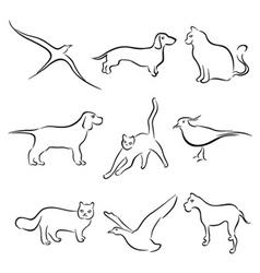 animal set vector image vector image