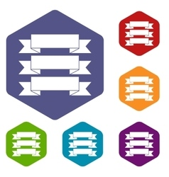 Three ribbons icons set vector image