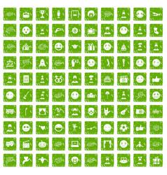 100 emotion icons set grunge green vector image