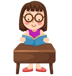 a girl reading book isolated on wh vector image