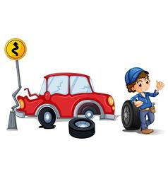 A mechanic near the car accident area vector image