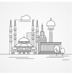 Ankara turkey detailed silhouette vector