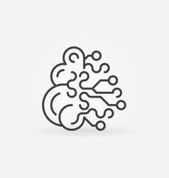 Artificial intelligence brain concept outline icon vector