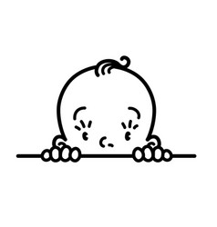 Baby icon face of small boy or girl line drawing vector