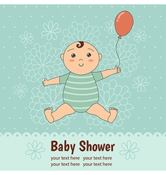 Baby shower card with a cute baby boy vector
