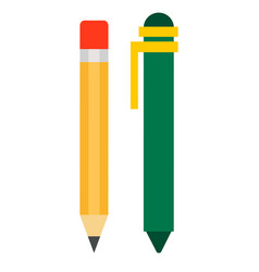 ballpoint and eraser pencil icon flat isolated vector image