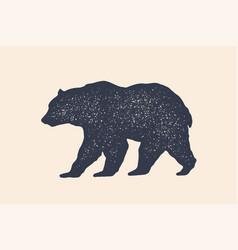 Bear silhouette vintage logo retro print vector