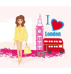 Beautiful woman in London abstract card with vector image