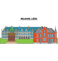 Belgium liege city skyline architecture vector