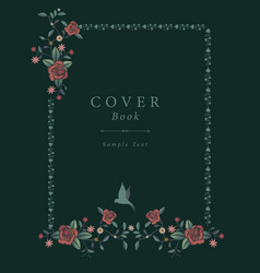 book cover with decorative embroidery frame in vector image