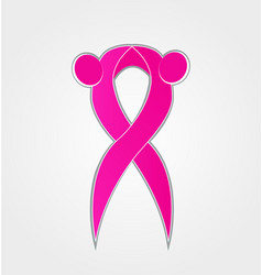 Breast cancer awareness pink ribbon abstract icon vector
