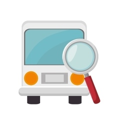 Bus and magnifying glass vector