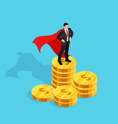 businessman standing on a stack of money vector image