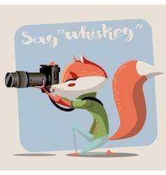 Cartoon fox with camera vector