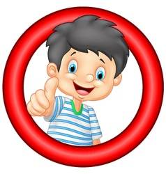 Cartoon little boy giving thumb up vector image