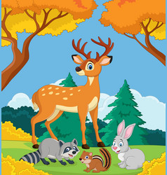 cartoon wild animals in the jungle vector image
