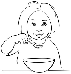 Child eating - black outline vector