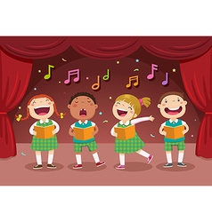 Children singing on the stage vector