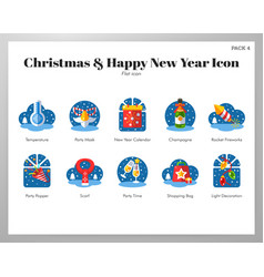 Christmas and happy new year icons flat pack vector