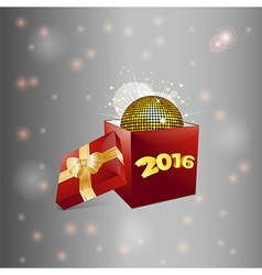 Christmas gift box and disco ball background vector