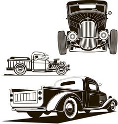classic hot rod car set clip art monogram vector image