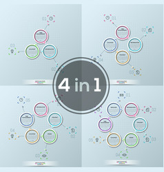 collection of four modern infographic design vector image