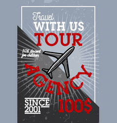 color vintage tour agency banner vector image
