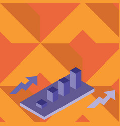 Colorful growing clustered 3d bar chart graph vector
