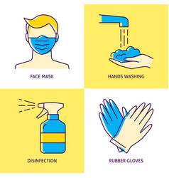 coronavirus prevention icon set in line style vector image