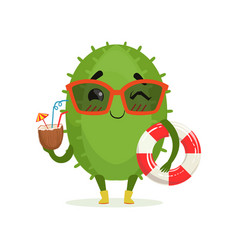 cute cactus in sunglasses holding lifebuoy and vector image