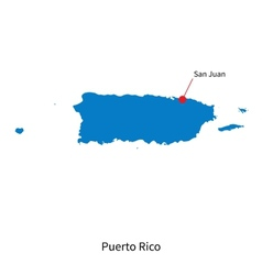 detailed map puerto rico and capital city san vector image