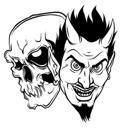 devil and skull head design vector image