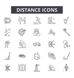distance line icons signs set outline vector image