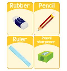 educational english word card stationery set vector image