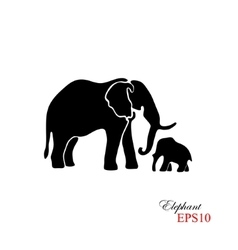 elephant and baby the black silhouette vector image
