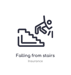 Falling from stairs outline icon isolated line vector