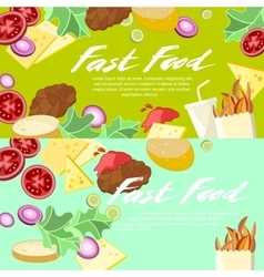 Fast Food Concept Banner flat style vector