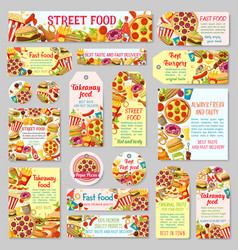 fast food restaurant tag for takeaway menu design vector image