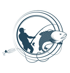 Fishing silhouettes with a fishing rod vector
