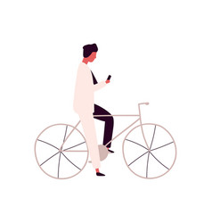 focused man using smartphone sitting on bicycle vector image