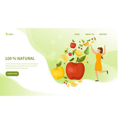 fresh fruit and vegetables with healthy woman vector image