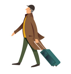 gentleman walking with luggage old fashioned man vector image