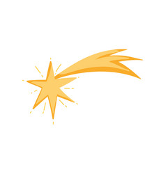 Gold shooting star bright ornament icon vector