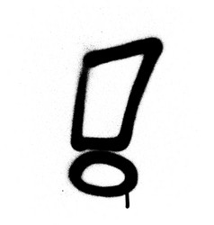 Graffiti exclamation mark in black on white vector